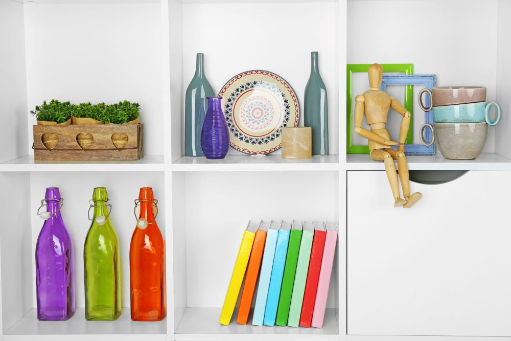 Decorate Shelves With Bright Colors