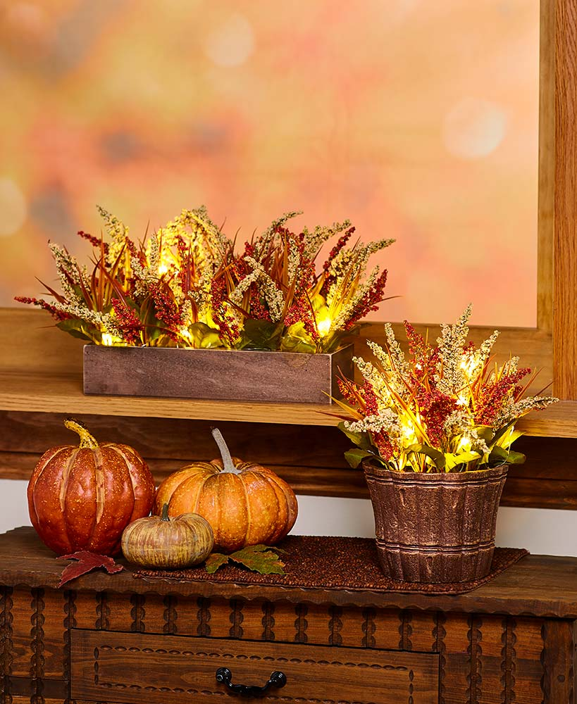 Lighted Faux Fall Arrangements