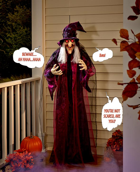 "Halloween Character Decor - 71"" Hanging Talking Witch"