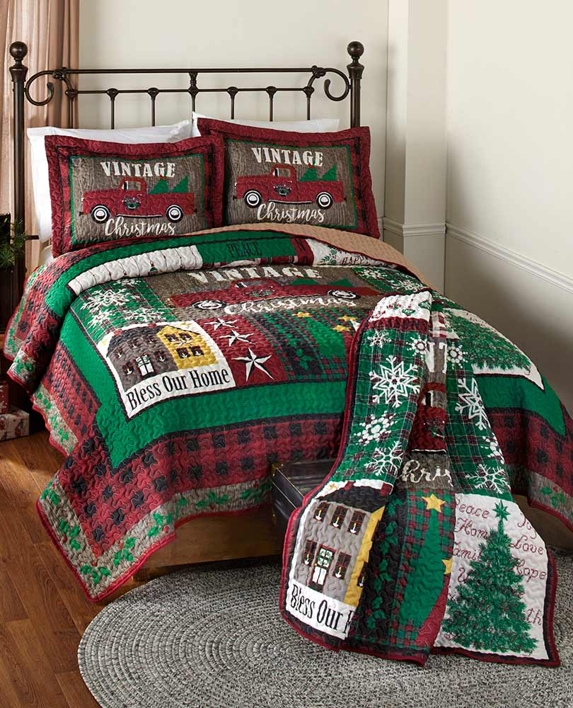 Vintage Christmas Quilted Bedding or Throw