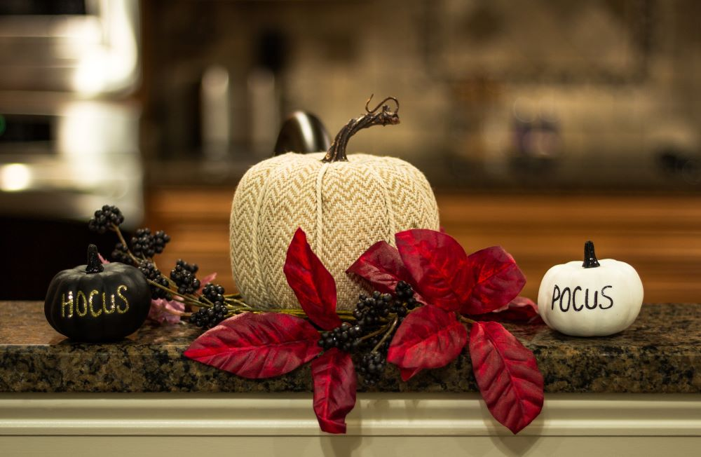 Decorative Fall Pumpkins and Leaves