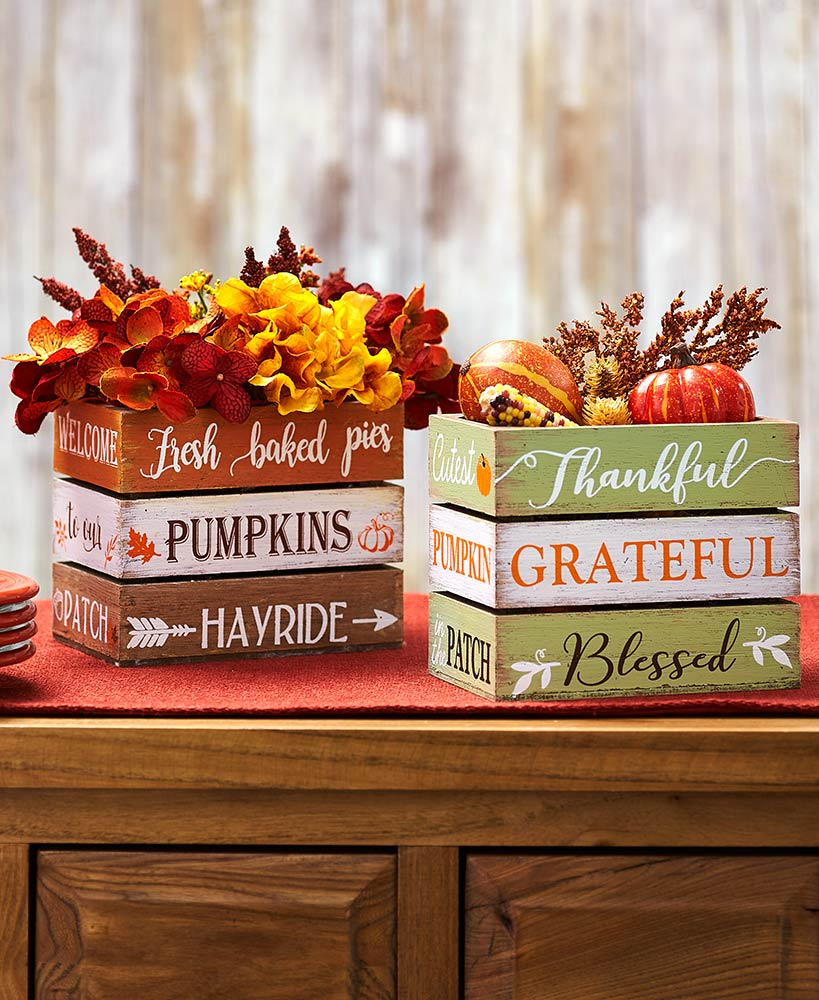 Fall Coffee Table Decor - Tabletop Sentiment Crates