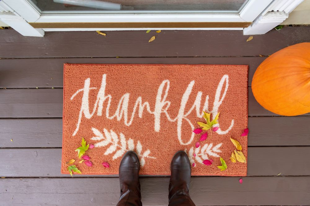 How To Make Your Porch Cozy For fall - Thankful Harvest Doormat