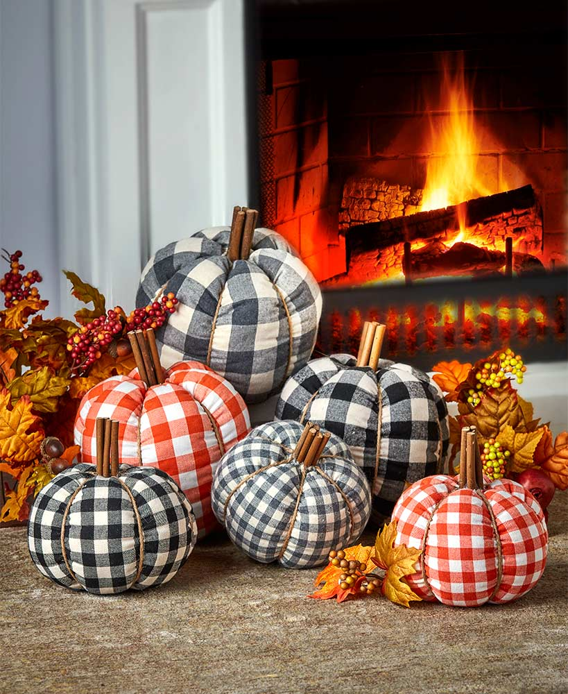 Decorative Plaid Plush Pumpkins