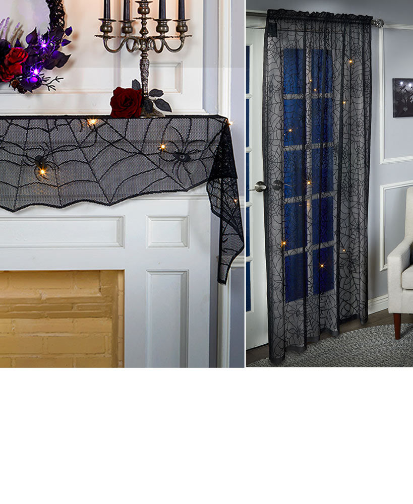Indoor Halloween Decorations -Lighted Spider Web Lace Window Panel or Mantel Scarf