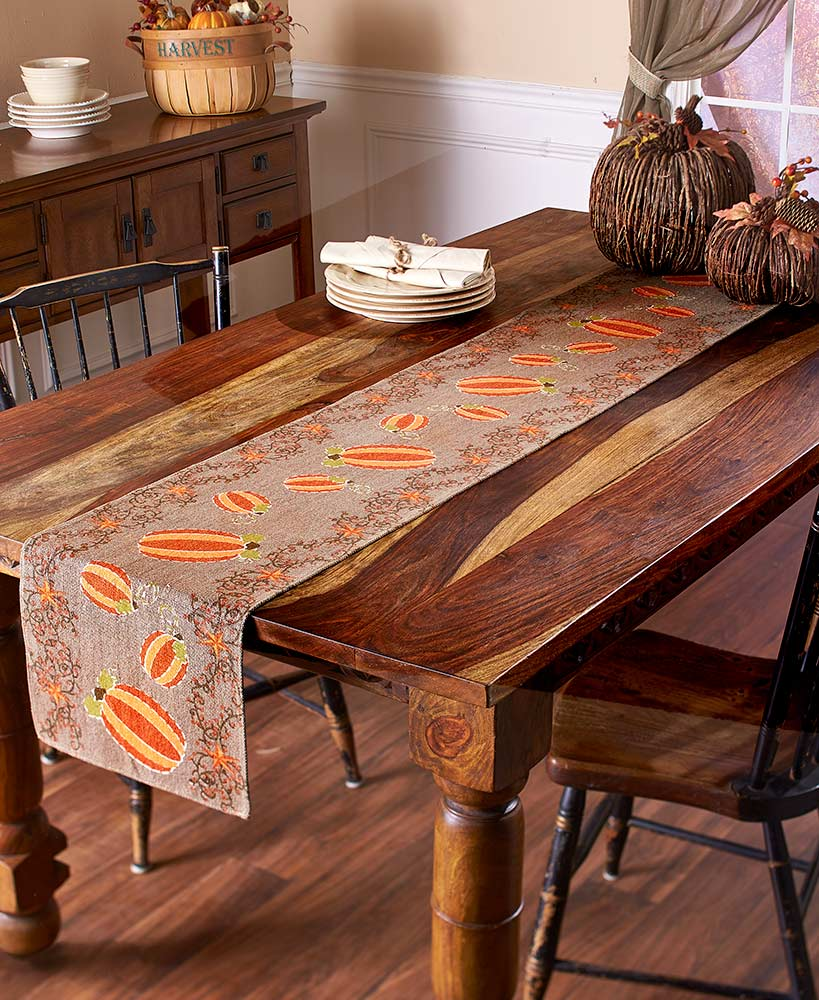 Pumpkin Patch Taupe Table Runner