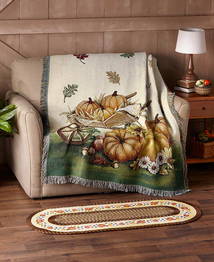 Harvest Pumpkin Tapestry Throw