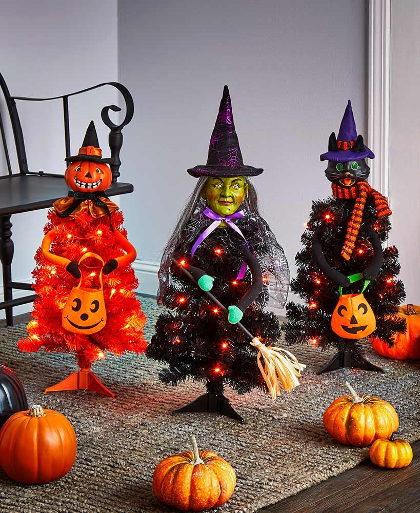 Indoor Halloween Decorations -Lighted Halloween Character Trees
