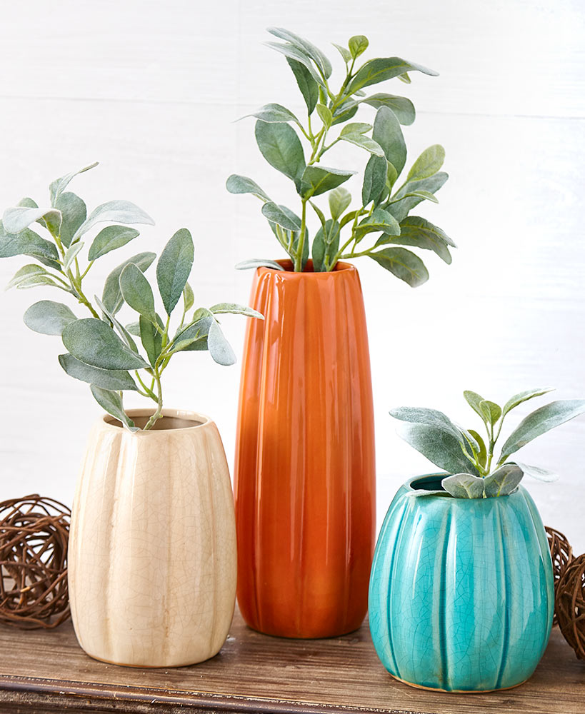 Fall Coffee Table Decor - Large Grooved Ceramic Vases