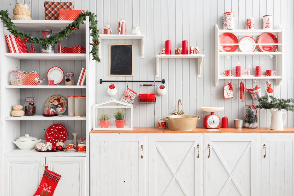 Christmas Themed Dishes On Shelves