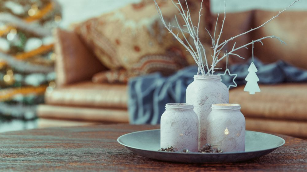 Christmas Mason Jar With White Branches