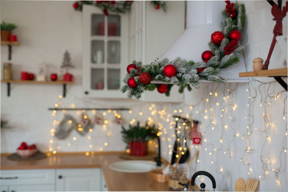 Christmas Kitchen Greenery And String Lights