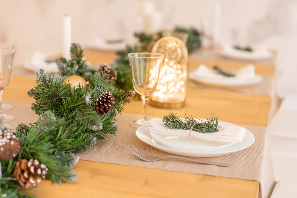 Decorate Your Dining Table For Christmas - Pine Garland Centerpiece