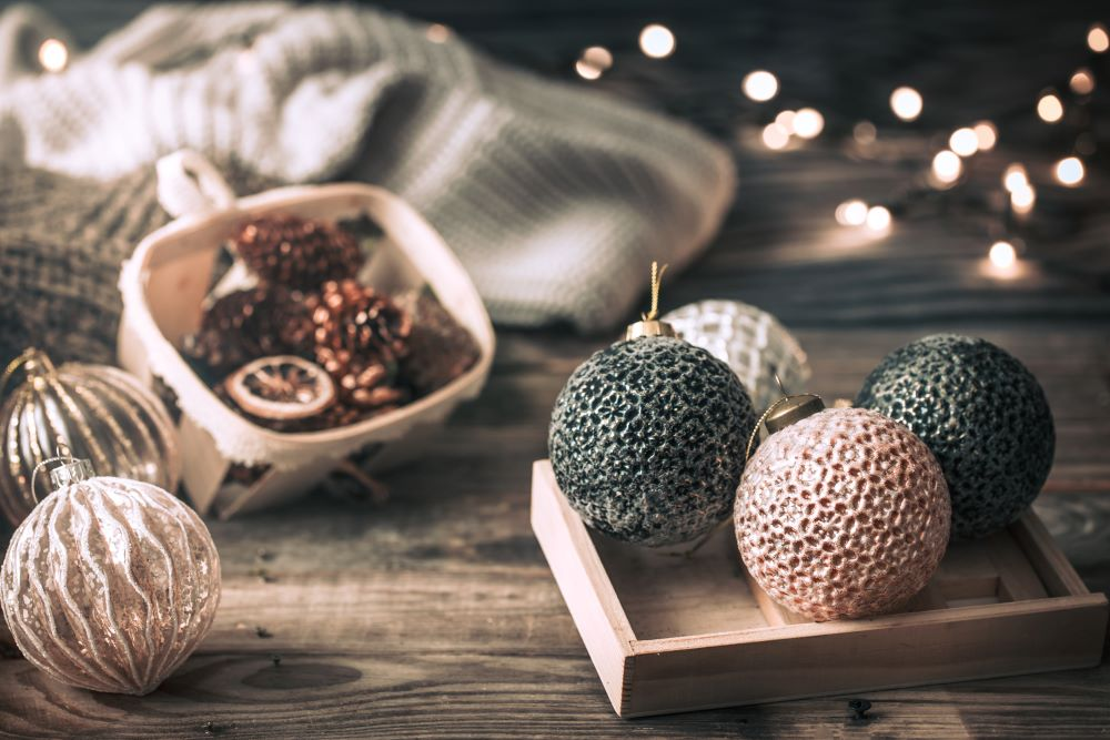 Christmas Ornaments Displayed In Tray