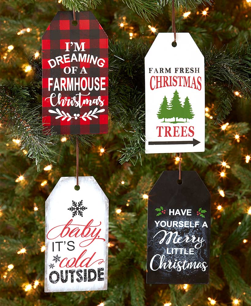 Set of 4 Country Sentiment Tag Ornaments