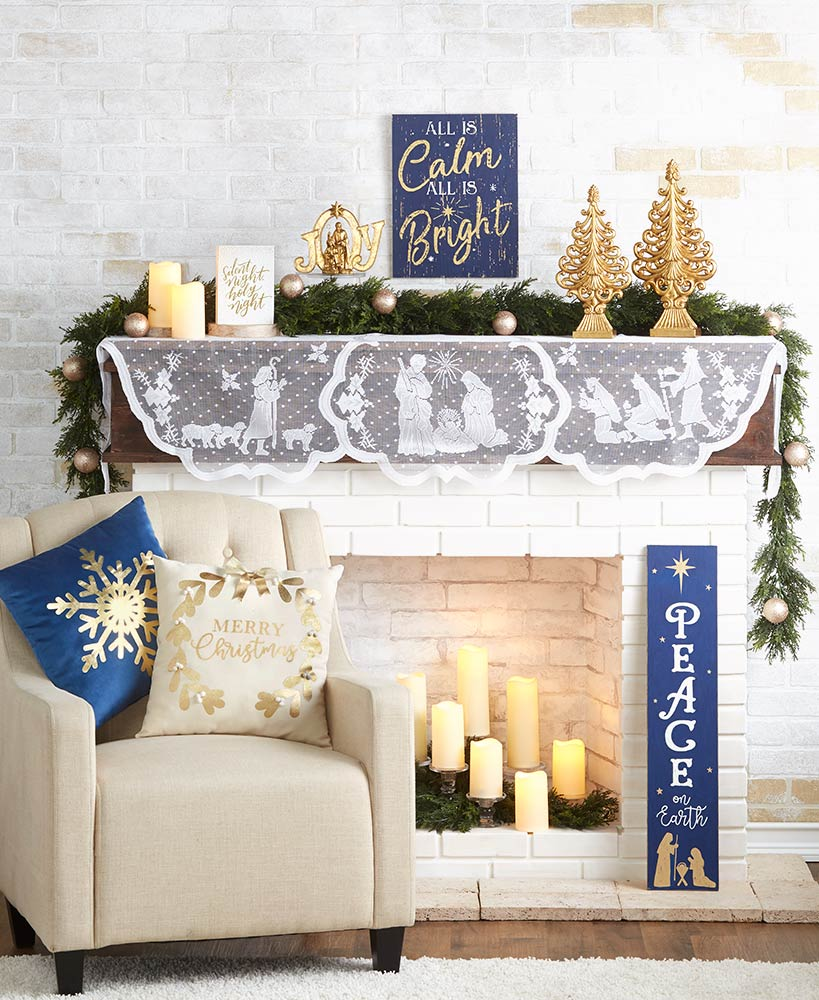 Silent Night Lace Mantel Scarf