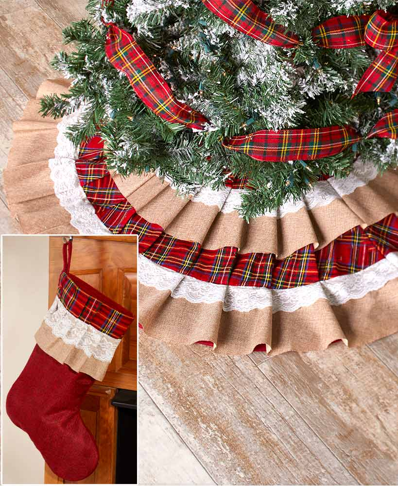 Burlap And Plaid Tree Skirt