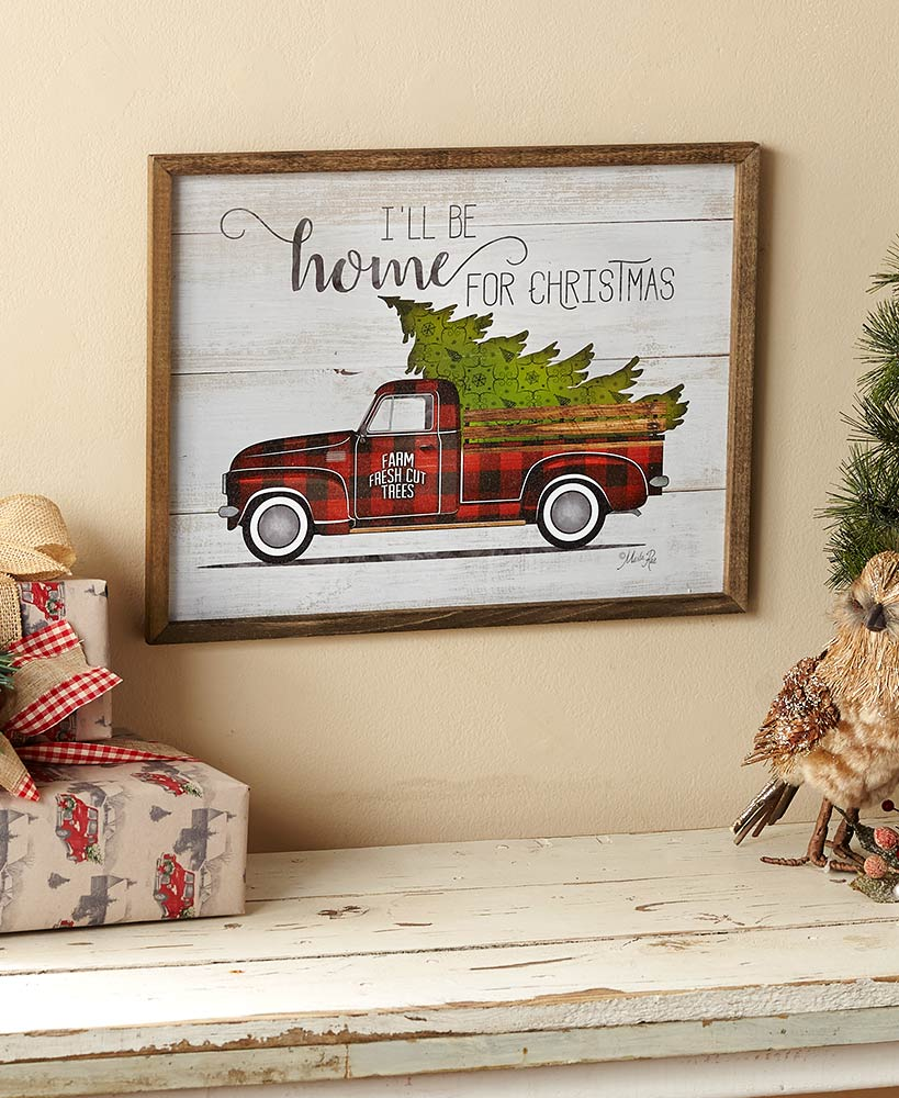 Festive Plaid Truck Christmas Wall Art