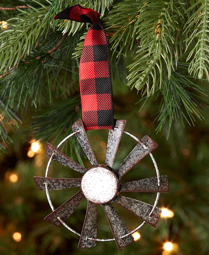 Galvanized Metal Windmill Ornament