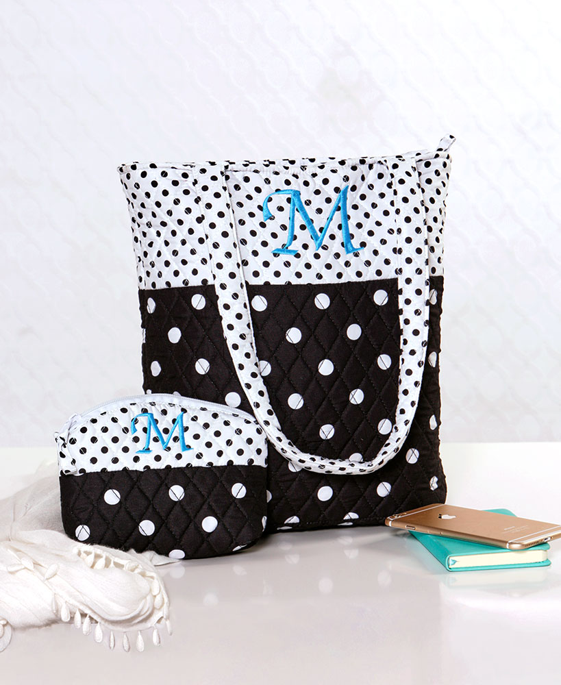 2-Pc. Monogram Tote Bag with Cosmetic Case