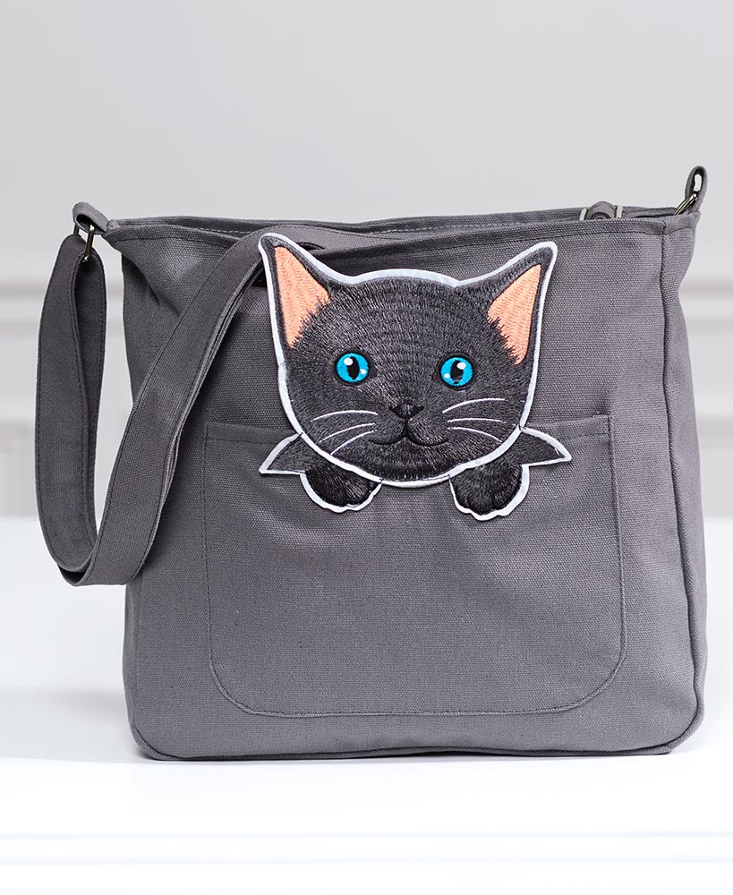 christmas gift ideas for cat lovers - Canvas Cat Crossbody Bag