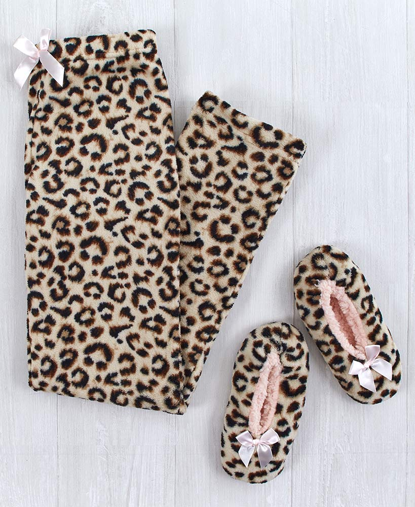Plush Lounge Pants and Slippers Gift Sets
