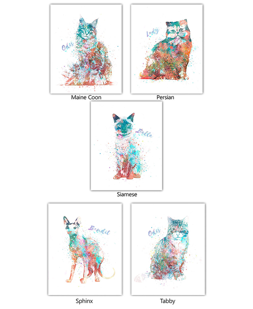 christmas gift ideas for cat lovers - Personalized Watercolor Cat Breed Wall Art