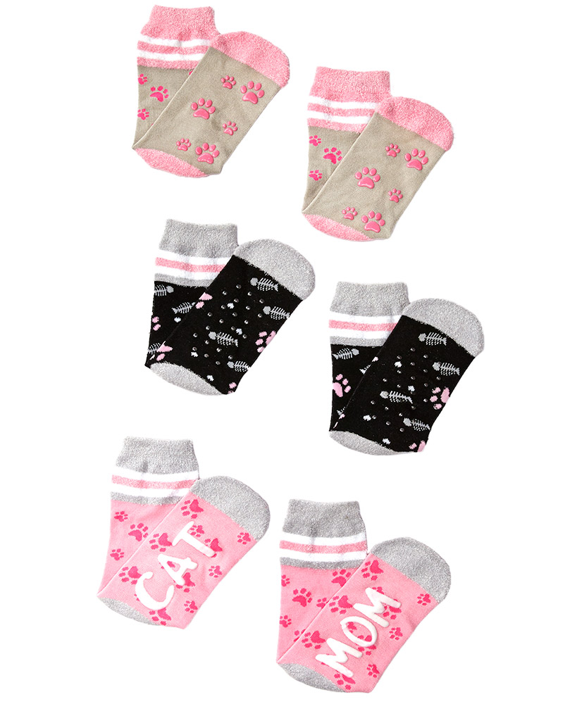 christmas gift ideas for cat lovers - 3-Pair Dog or Cat Mom Slipper Socks