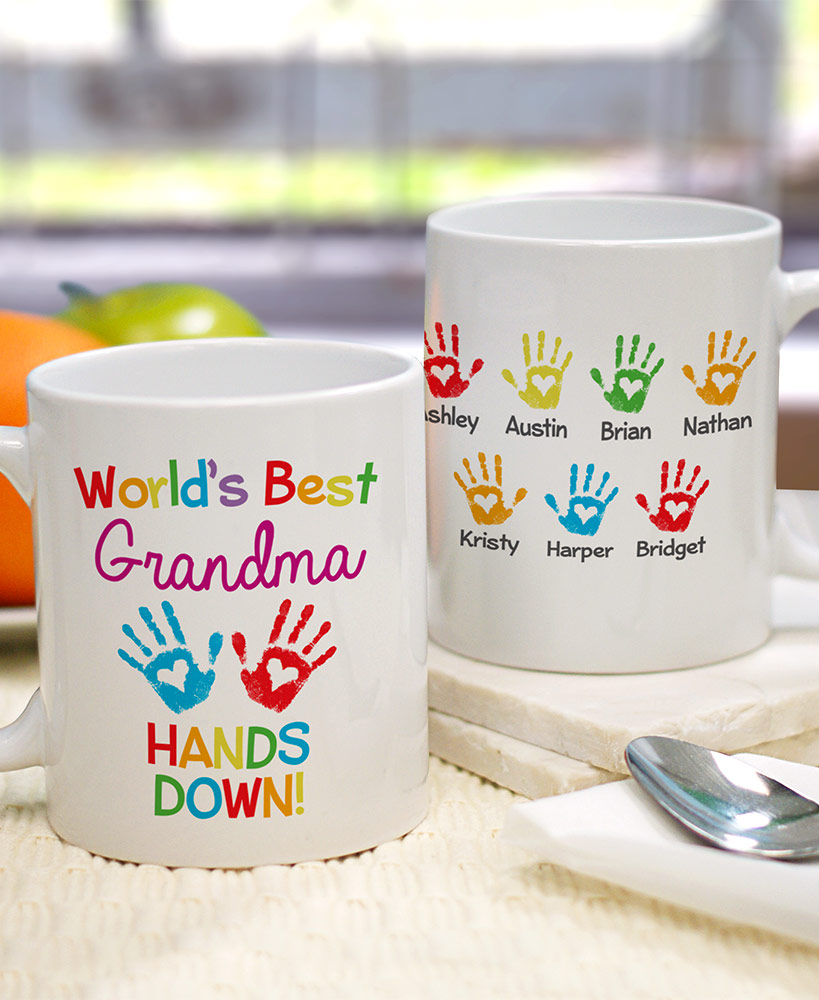 """personalized christmas gifts for grandparents - Personalized """"Hands Down"""" Coffee Mug"""