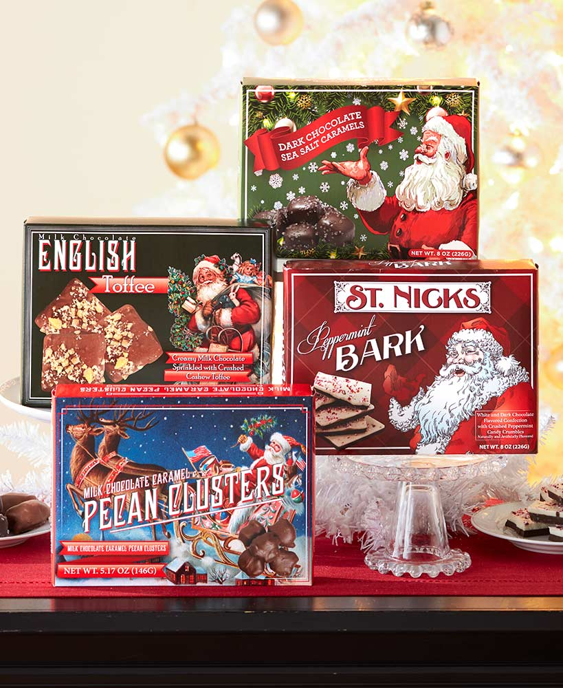 secret santa ideas for coworkers - Vintage-Inspired Holiday Chocolate Gift Boxes