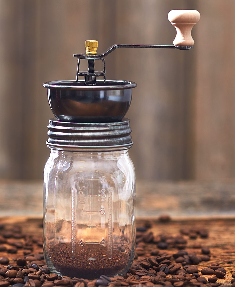 Country Mason Jar Coffee and Nut Grinder