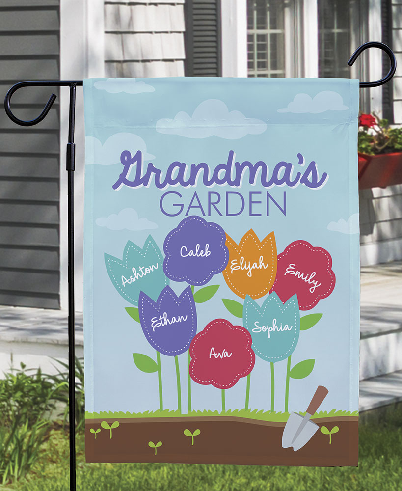 Personalized Grandma's Garden Double-Sided Flag