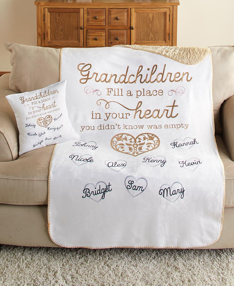 personalized christmas gifts for grandparents - Personalized Grandchildren Sherpa Throw