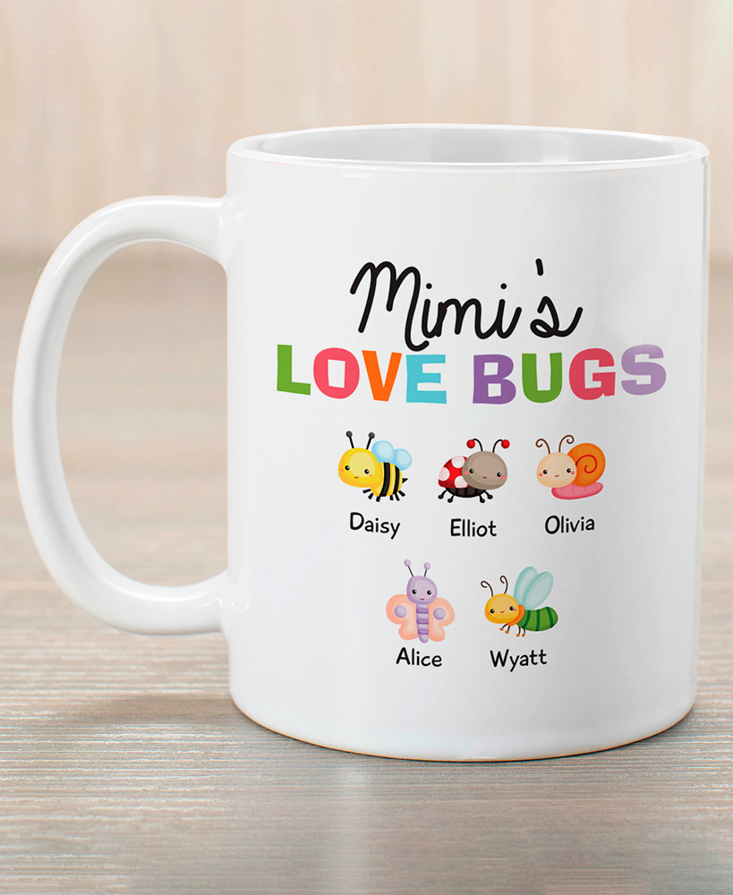 personalized christmas gifts for grandparents - Love Bugs Personalized Coffee Mug