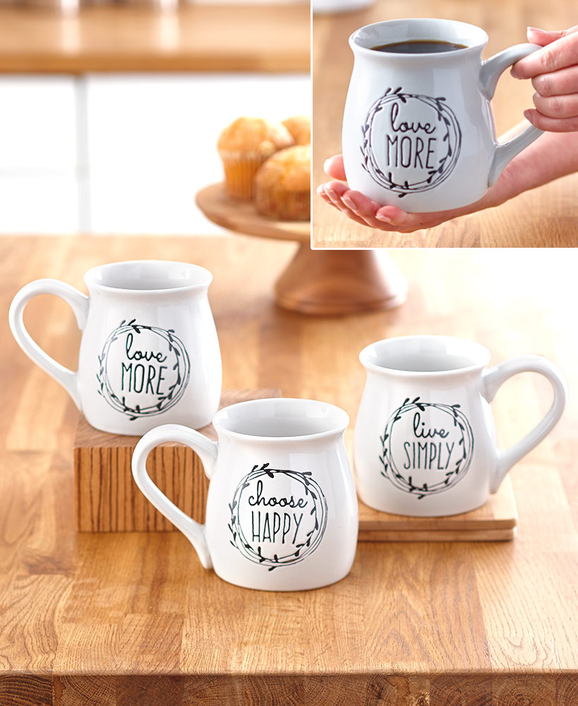 secret santa ideas for coworkers - 20-Oz. Sentiment Belly Mugs