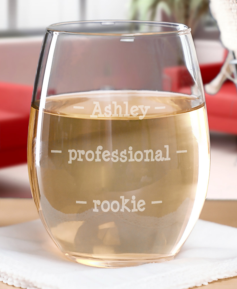 Personalized Pour Line Wine Glass