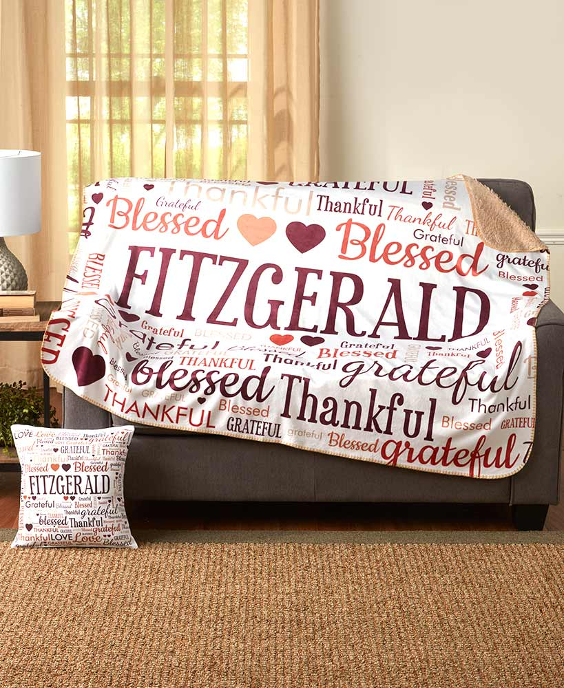 personalized christmas gifts for grandparents - Personalized Family Word Art Sherpa Throws