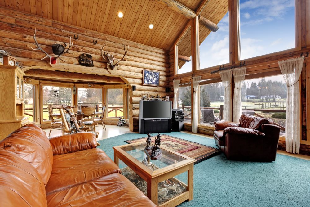 Lodge Decor Ideas - Cabin Living Room With Deer Antlers