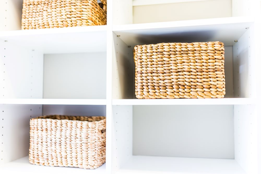 Woven Baskets Inside Of Shelves