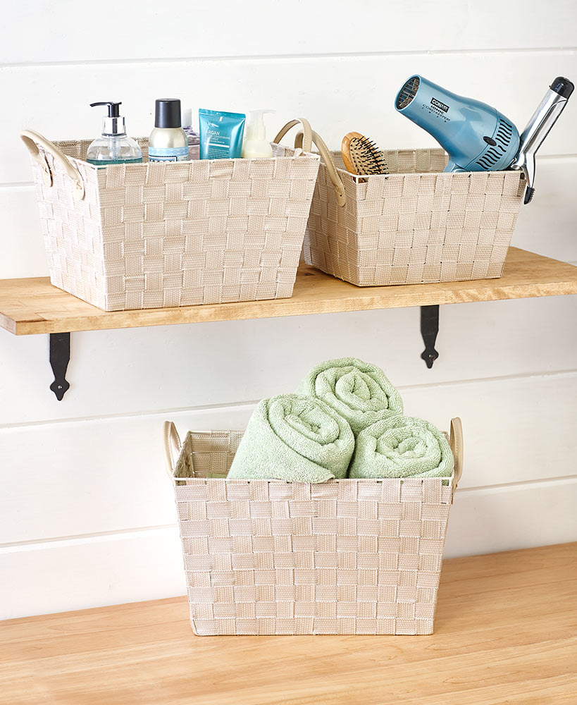 3 Baskets with Leather-Like Handles