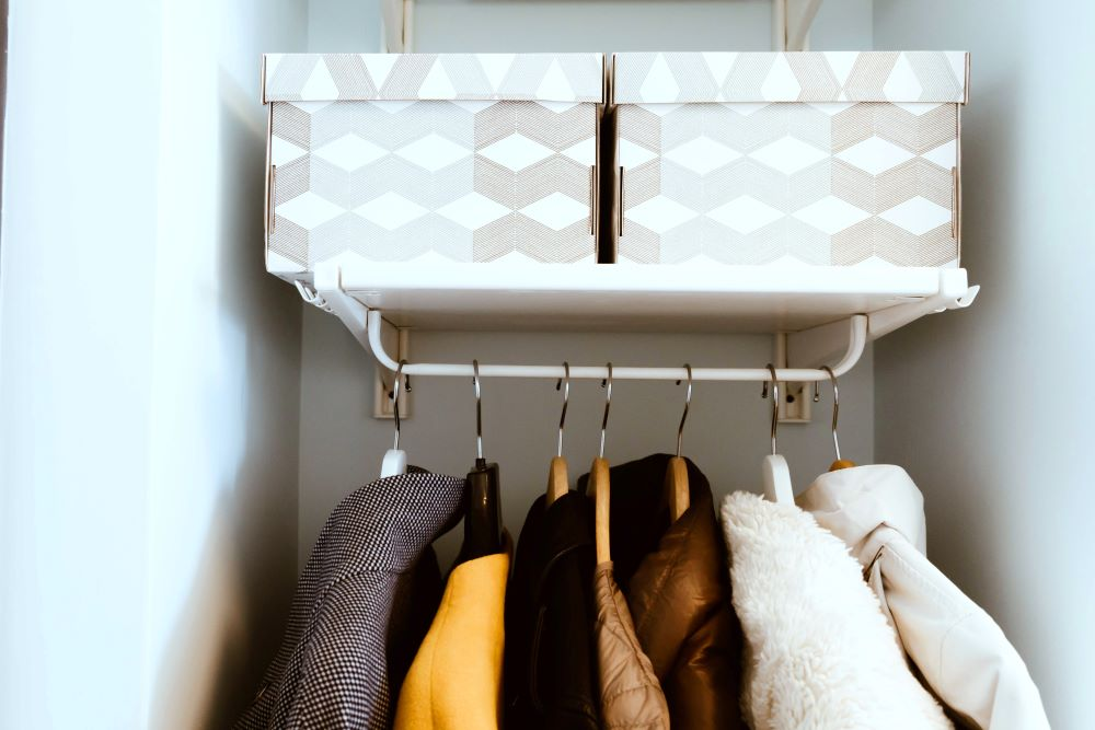 Coat Closet Organization - Store Accessories In Boxes
