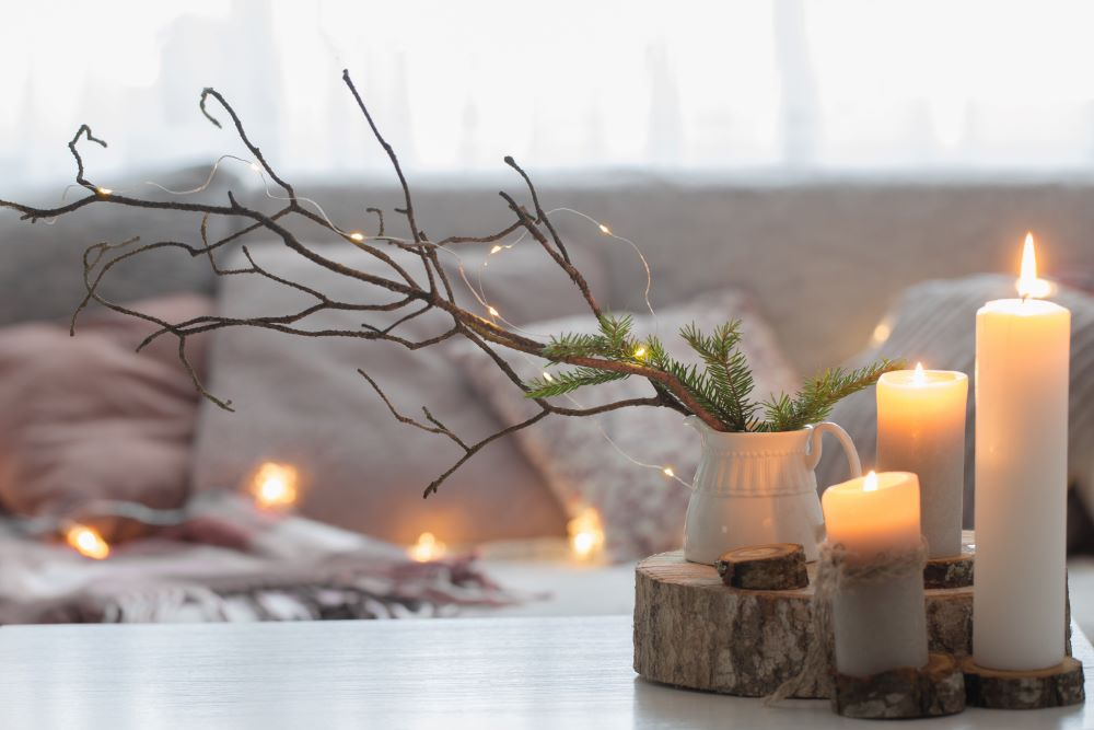 Lodge Decor Ideas - Branches and Candles Decor