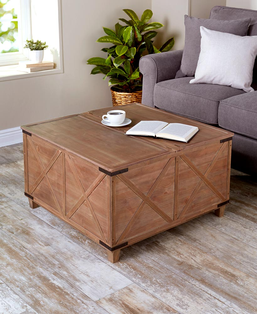 Living room organization ideas - Barn Door Coffee Tables with Storage