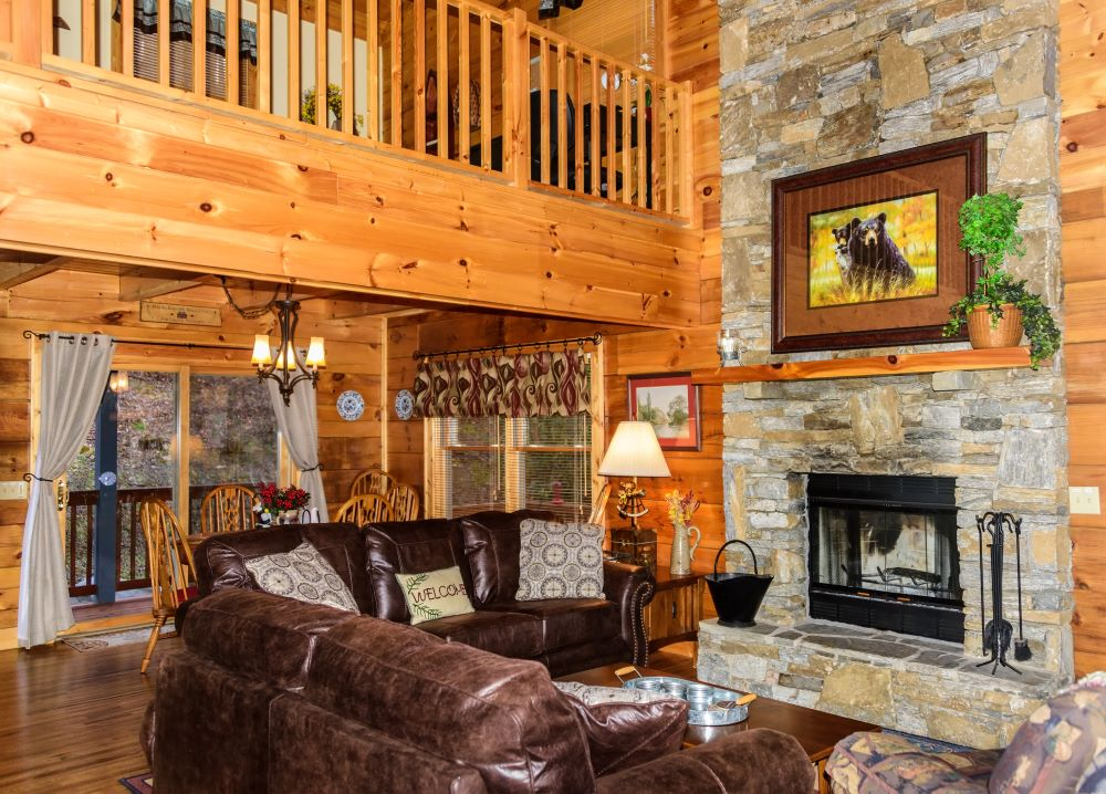 Lodge Decor Ideas - Leather Couches In Cabin Home