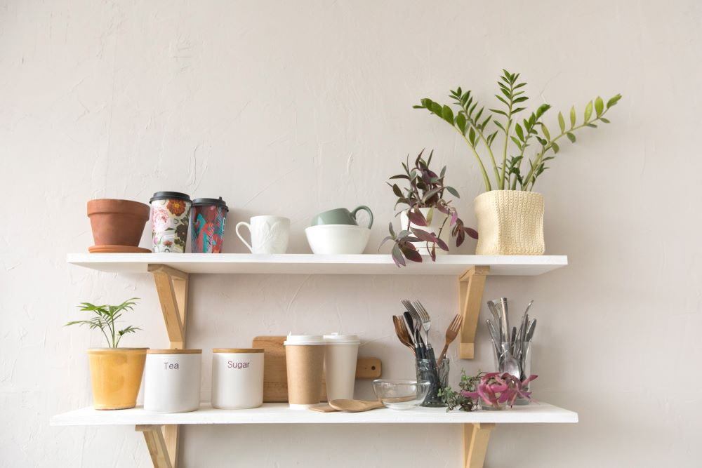 Decorate Your Kitchen On A Budget - Kitchen Floating Shelves