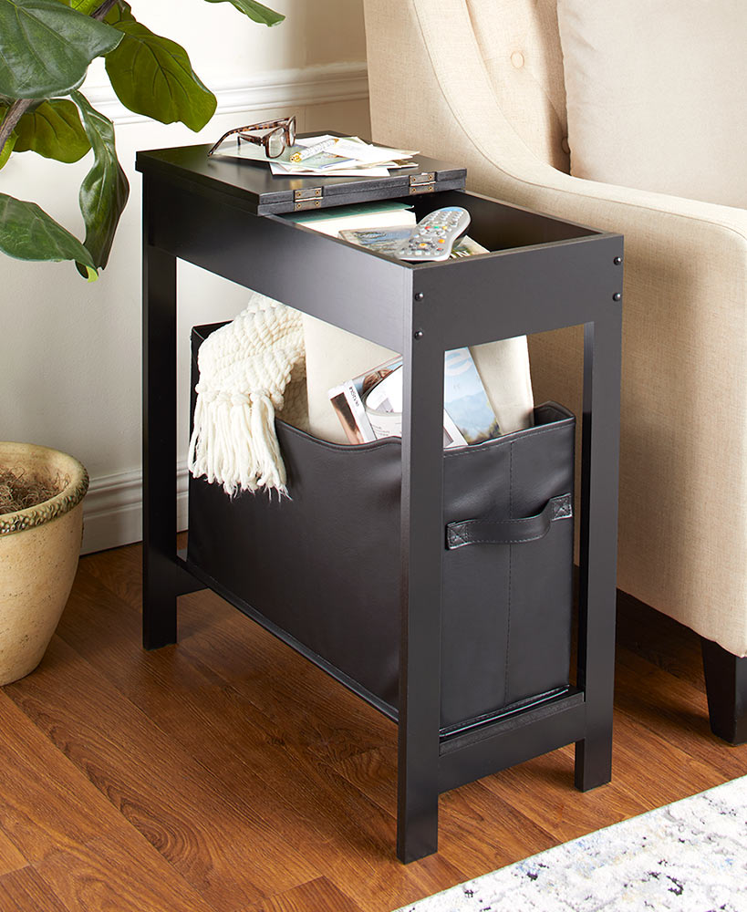 Side Storage Table with Faux Leather Bin