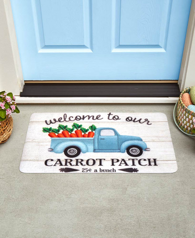 Easter Decorating Ideas - Spring Truck Carrot Patch Doormat