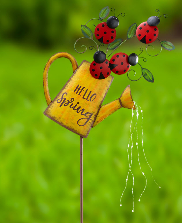 Solar Hello Spring Watering Can Ladybug Stakes