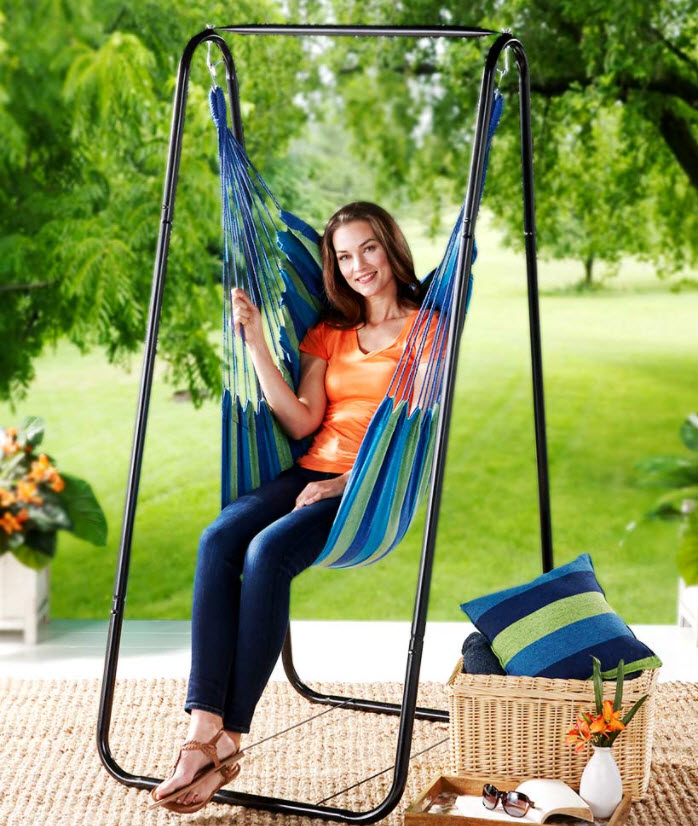 Patio Furniture Ideas - Hammock Chair Stand or Striped Hanging Chairs or Pillows