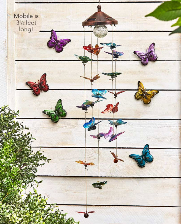 Colorful Solar Butterfly Mobile